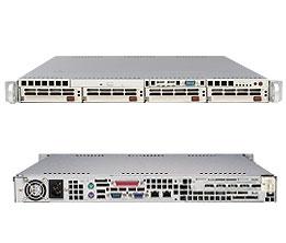 Supermicro 1U Black Server SYS-5015M-MTB Barebone Dual LGA775 ZIF Socket  300W 4x3 5'' Hot-swap drive bays Dual Gigabit Ethernet Controller ATI  RageXL